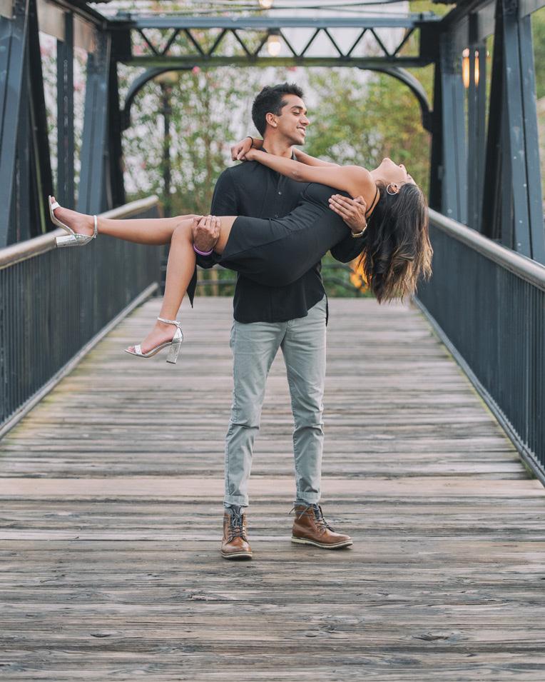 romantic couple on bridge